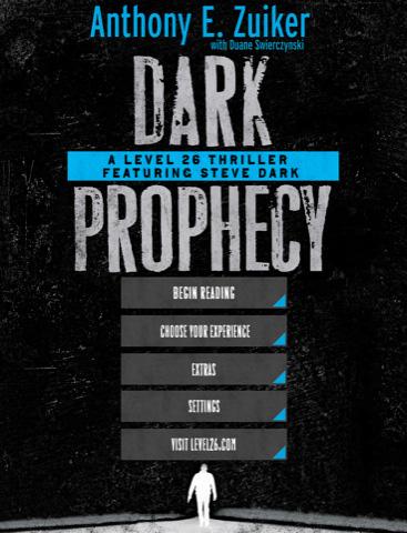 Level 26, Dark Prophecy, menú de la novela digital