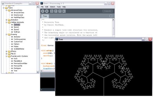 Processing, una captura de pantalla con la interfaz gráfica en pleno funcionamiento